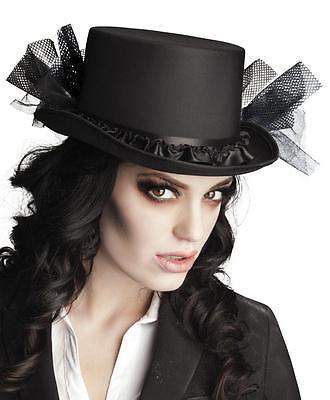 Eleganter schwarzer Damen Zylinder mit Tüll Gr. 57 Hut Halloween (Tüll Geist)