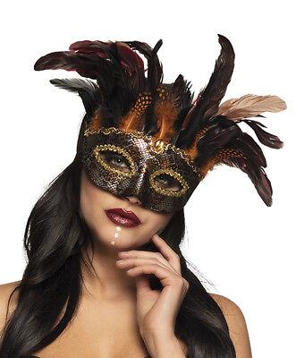 Ladies Venetian Mask Feather Masquerade Ball Halloween Voodoo Eyemask DELUXE NEW ()