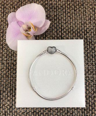 Pandora Pave Heart Bracelet Sterling Silver Size 7.1