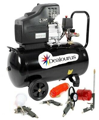 Portable 50L Litre Air Compressor Mobile 9.6CFM 2.5HP & 5 Piece Tool Kit
