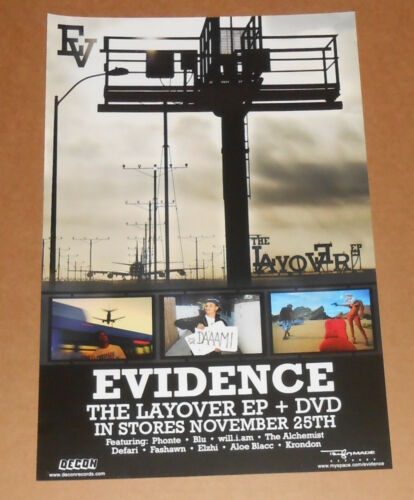 Evidence The Layover Poster Promo Original 12x18 Rap RARE Dilated Peoples