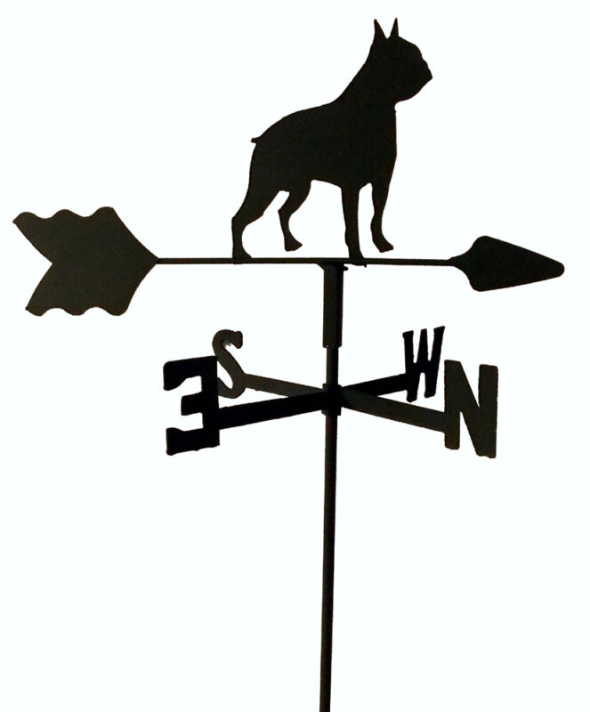 French Bulldog GARDEN STYLE WEATHERVANE WROUGHT IRON LOOK MADE IN USA