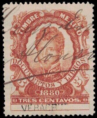 1880 MEXICO Revenue Stamp - Veracruz, 3 Centavos A18H