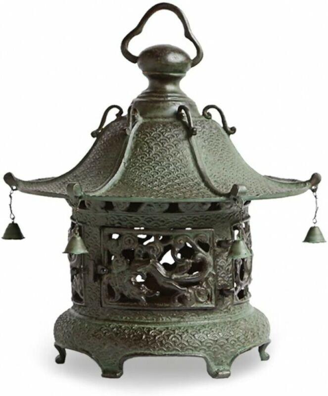 Toro Japanese Bronze Hanging Lantern Takaoka Craft Ryu Doragon Motif Japan