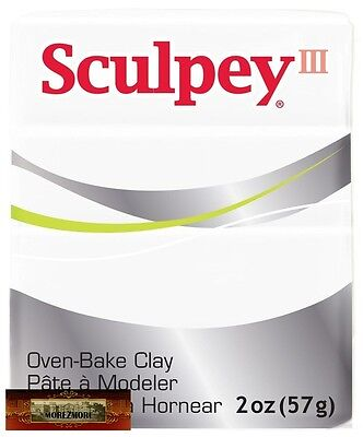 M01024 MOREZMORE Sculpey III WHITE 2oz Polymer Oven-Bake Clay 001 T20