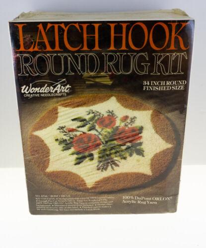 "Wonder Art 34"" Round #4744 Rose Circle Latch Hook Rug Kit VINTAGE NEW IN PKG"