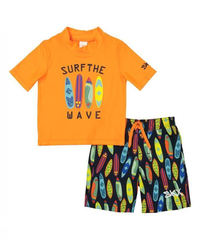 Skechers Boys Orange Two-Piece Rashguard Swim Set Size 2T 3T 4T 4 5 6 7
