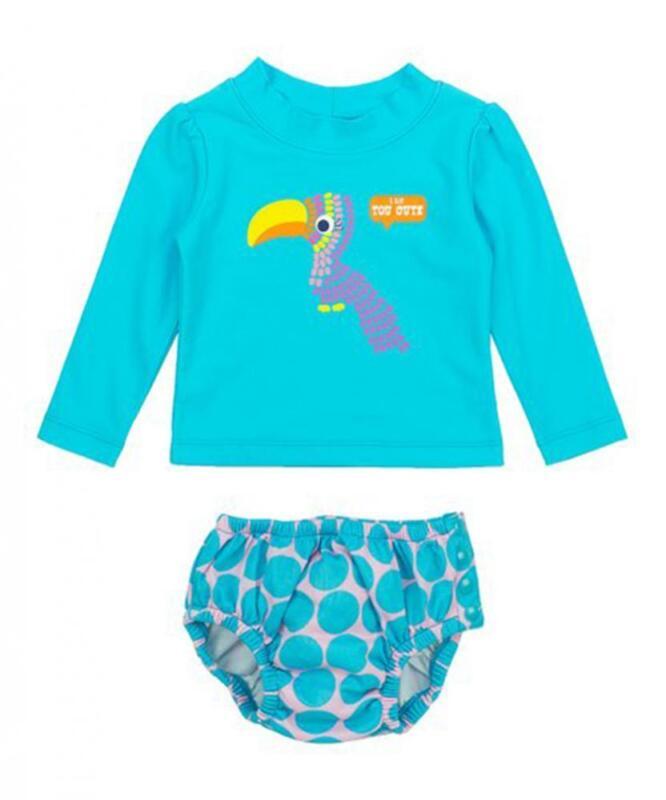 Kiko & Max Infant Girls Aqua Tucan 2pc Rashguard Swim Set Size S M L