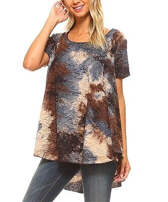 Size 12 Oversized Top Ladies Brown Tie Dye Flowy Tunic With Short Sleeves