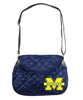 Embroidered Saddlebag - Michigan Wolverines Quilted Saddlebag Purse Crossbody Embroidered Team Logo