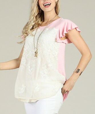 Pink Lace T-Shirt Size 16 Ladies Womens Flutter Sleeve Top 16 Flutter Sleeved Tee
