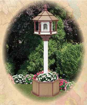GARDEN PLANTER & POST LARGE BIRD FEEDER Amish Handmade Poly ~ Tan Cherry & White