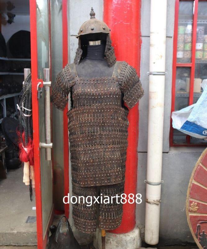 iron Handwork weave Chinese ancient times warfare soldier warrior Armor helmet