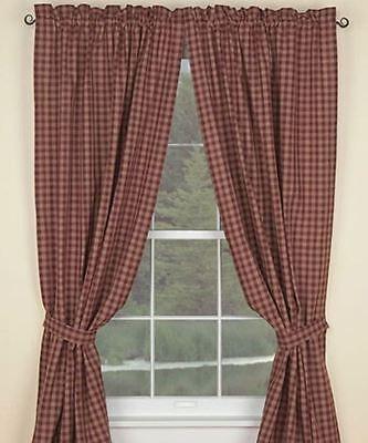 Noachian Country Wine Sturbridge Panel Curtains 72WX84L Lined Plaid Cotton