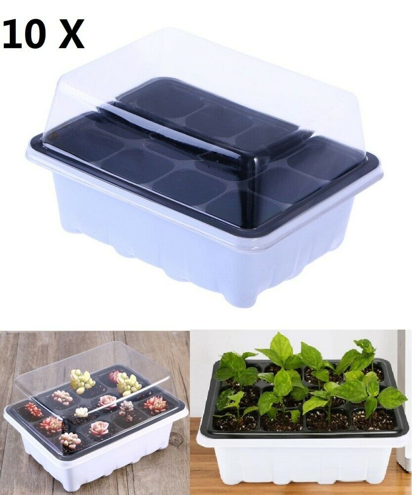 Seed Grow Starting Plant Propagation Tray Compartments Dome Germination Kits