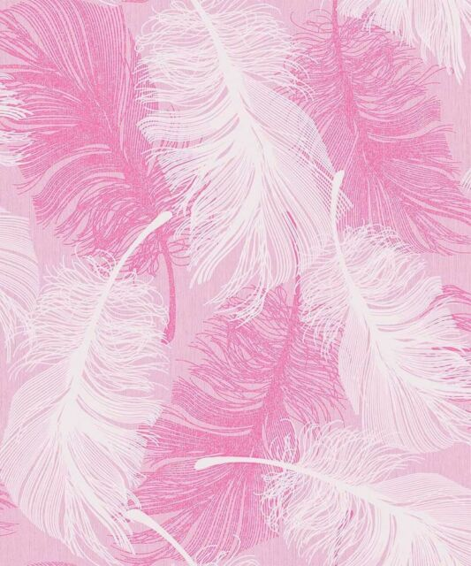 Coloroll Feather Pink White Glitter Luxury Feature DESIGNER Wallpaper M0963