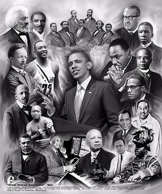 Great African American Men (Black History Month - 11x8.5 inches - Unframed Art )