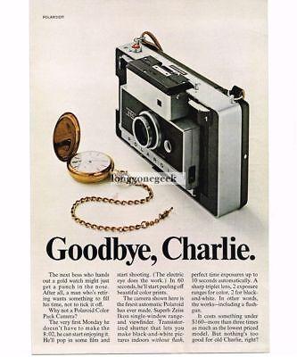 1968 Polaroid 250 Color Pack Camera Gold Pocket Watch Vintage Ad