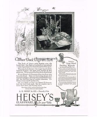 1926 Heisey Glassware Duck Hunter Dogs Long Island Duckling Recipe Vintage Ad