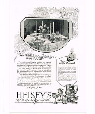 1926 Heisey Glassware Fisherman art Trout Recipe Vintage Print Ad