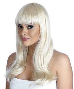 Adult Platinum Blonde Fringe Wig Barbie Popstar Fancy Dress Costume Accessory