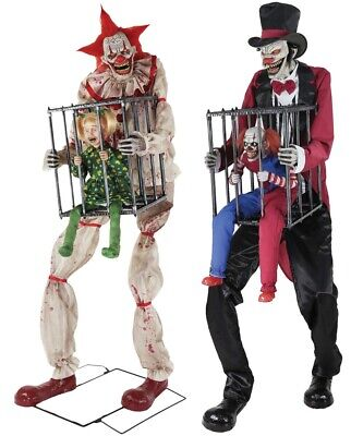 Halloween Animated CAGEY THE CLOWN WITH GIRL & ROTTEN RINGMASTER WITH CLOWN Prop](Halloween Girl Clown)