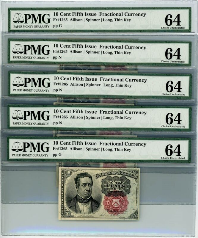 Fr. 1265 10c 5th Issue Fractional Currency Bundle Hole Lot of 5 Ch Unc64 PMG
