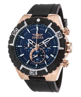 New Mens Invicta 22524 Aviator Chronograph Blue Dial Black Rubber Strap Watch