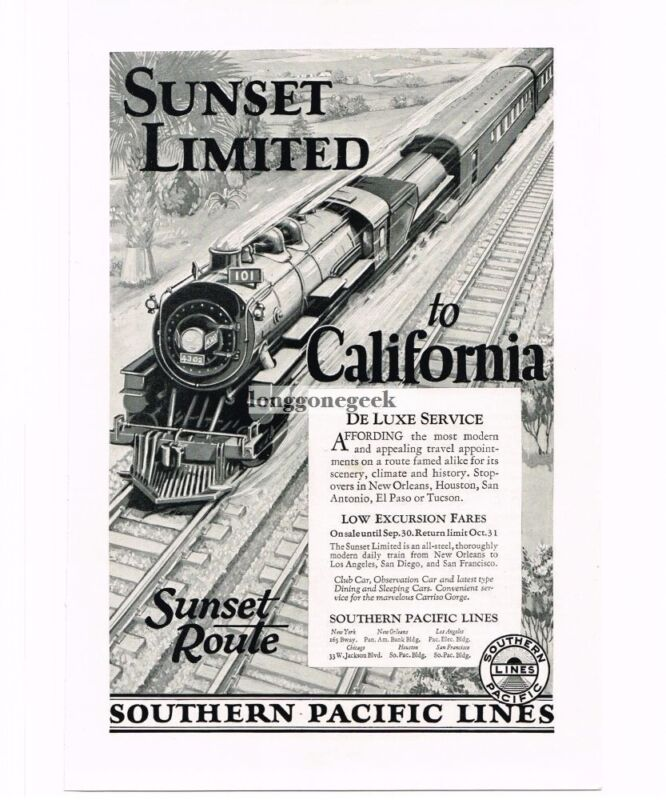 1926 Southern Pacific Sunset Limited Passenger Train art Vintage Ad