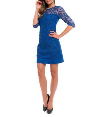 Almatrichi Womens Dress Blue Embroidered Mesh 14 UK RRP £120