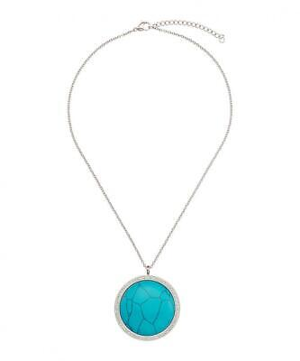 Chloe Collection By Liv Oliver Silver-Plated & Turquoise Necklace