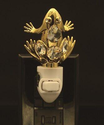 24K GOLD PLATED SWAROVSKI CRYSTAL STUDDED FROG NIGHT LIGHT UL LISTED 24k Gold Plated Frog