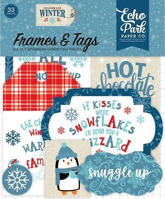 Echo Park CELEBRATE WINTER 33pc Frames & Tags EPHEMERA Die Cut Pieces CW162025 - Winter Frames