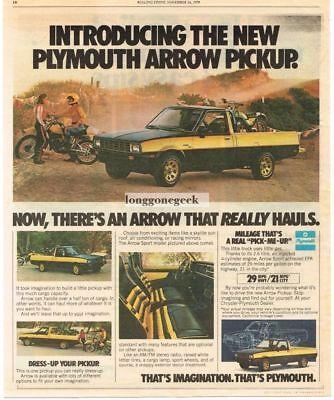 1978 Plymouth Arrow Pickup Truck Yellow Black Hauling Dirt Bikes Vtg Print Ad ()