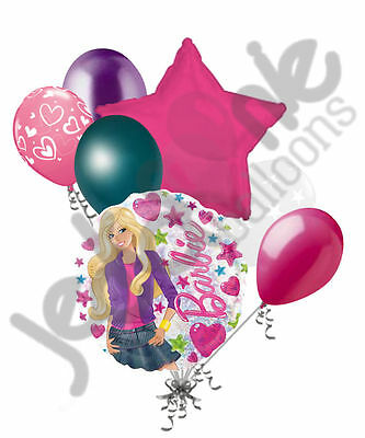 7 pc Barbie Fashion Balloon Bouquet Party Decoration Happy Birthday Pink - Barbie Balloons
