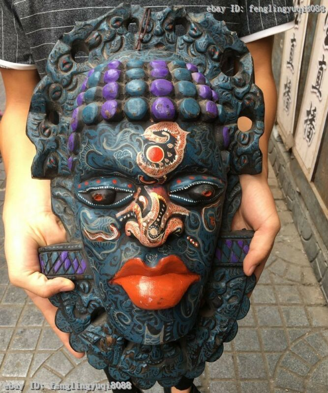 Chinese Wood Carved Hand-Painted African Tribal Chiefs Face Mask Head Statue