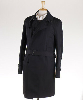 NWT $1375 COSTUME NATIONAL HOMME Black Trench Coat M (Eu 50) Outer Jacket - Black Trench Coat Costume