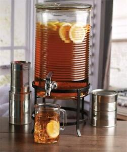 NEW Circleware 68167 Canned Mason Jar Glass Beverage Drink Dispenser with Metal Stand Glassware for Water_Iced Tea Ko...
