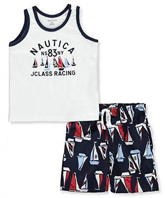 Nautica Infant Boys White Tank 2pc Board Short Set Size 12M 18M 24M $45