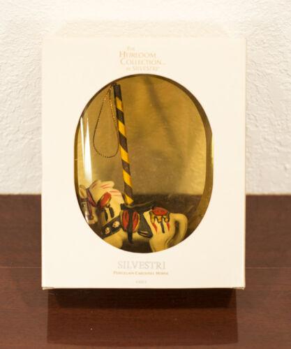 SILVESTRI HEIRLOOM COLLECTION PORCELAIN CAROUSEL HORSE CHRISTMAS ORNAMENT & BOX