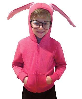 Teen Bunny Costume (Christmas Story Hoodie Teen Costume, Size 13-14, Pink with bunny)