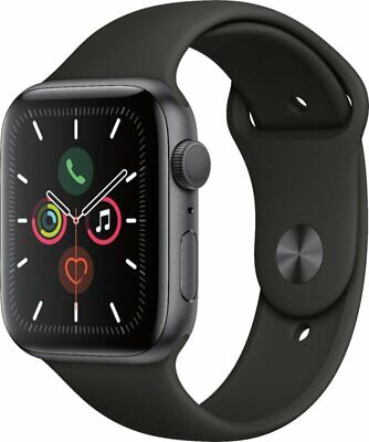 NEW Apple Watch Series 5 44mm Space Gray Aluminum GPS Black Sport Band MWVF2LL/A