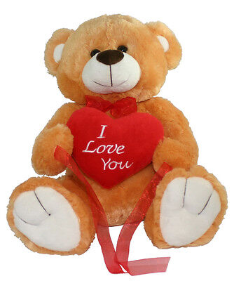 "*NEW* BIG BROWN LOVE YOU TEDDY BEAR SOFT PLUSH VALENTINES DAY GIFT - 15"" Sitting"