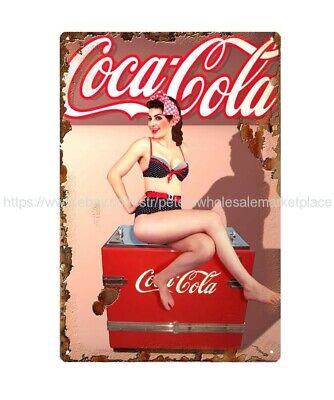 US SELLER, discount home decor sexy coca cola girl metal tin sign