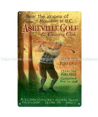 US SELLER, garage decoration ideas Asheville golf country club metal tin sign