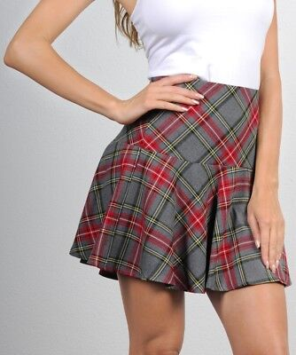Trendy School Girl Style Full Plaid mini skirt New costume casual fun short mini