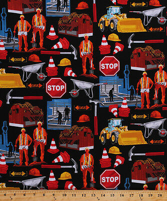 Construction Workers Safety Zone Hard Hats Red Cotton Fabric Print BTY - Construction Worker Hat Craft