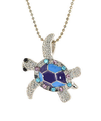 - Silver-tone Turtle Pendent,. Epoxy and Austrian Crystal Chain Necklace N-1182