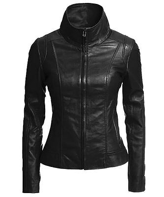 Womens Leather Motorcycle Jacket Genuine Lambskin Ladies Black Biker Jacket- 066