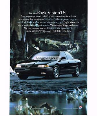 1993 Jeep EAGLE VISION TSi Black 4-door Sports Sedan Vtg Print Ad (Jeep Eagle Vision)